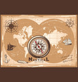 vintage nautical world map template vector image vector image