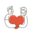 wedding symbol love couple holding heart vector image