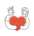 wedding symbol love couple holding heart vector image vector image