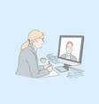 woman making video call concept vector image vector image