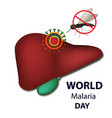 world malaria day mosquito bans sign liver virus vector image