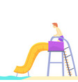 young man having fun on a water slide in a water vector image vector image