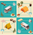 camp isometric compositions vector image