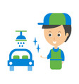 cleanup service worker and clean car cleaning vector image