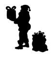 santa claus silhouette christmas holiday vector image