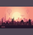 abstract urban landscape with landmarks asia vector image vector image