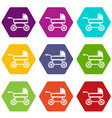 baby carriage icons set 9 vector image vector image
