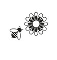 bee and flower icons vector image vector image