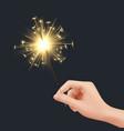 bengal light in hand xmas celebration fireworks vector image