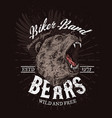 biker band club badge roaring wild bear vector image