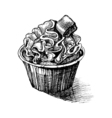 black and white sketch cute creamy sweet cupcake vector image vector image