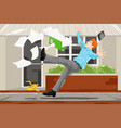 businessman slipping on a banana skin vector image