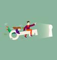 cartoon characters fly on key into keyhole vector image