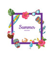 cartoon summer travel elements flying vector image