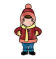 character man carols singer at a winter clothes vector image vector image