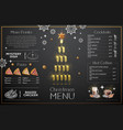 christmas menu design with golden champagne vector image vector image