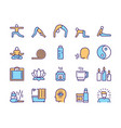 color linear icon set yoga lifestyle vector image