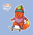 cute baby fox on a skateboard cute decorative vector image vector image