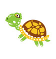 cute jumping green turtle vector image vector image