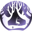 deer in forest with snow in christmas and winter vector image