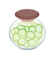 Delicious Pikled Slice Cucumber in A Jar vector image vector image