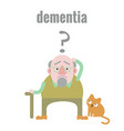 elderly man with dementia in confused state of vector image