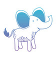 elephant cartoon in degraded blue to purple color vector image