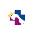 foot health medic cross logo vector image vector image