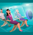future airline clients in futuristic plane vector image vector image
