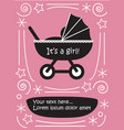 girl in pram baby carriage cute flat black and vector image