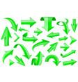 green arrows shiny 3d signs vector image vector image