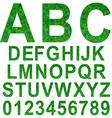 Green rectangle mosaic textured font set vector image vector image
