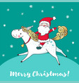 greeting card with cute unicorn and santa claus vector image vector image