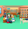 group of school kids studying in library vector image