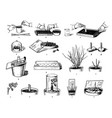 hand drawn sketch of plants care process vector image