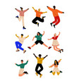 happy people o jumping young men and women vector image vector image