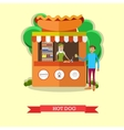 Hot dog stand concept poster City street vector image