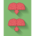Icon of brain or mind upload and download Flat vector image vector image