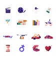 icons set clapper camera film and books plant vector image