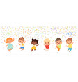 kids anniversary happy children jumping vector image