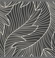 linear engraving banana leaves seamless pattern vector image