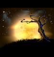 orange halloween moon tree background vector image vector image