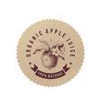 organic apple juice paper emblem vector image