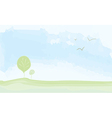 Peaceful landscape summer - watercolor painting vector image vector image
