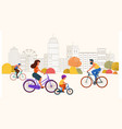 people ride bicycles on road in city vector image