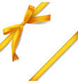 realistic golden ribbon with bow decoration for vector image vector image