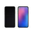 realistic slim black smartphones vector image