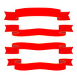 red ribbons on white background vector image vector image