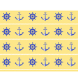Seamless sea pattern Blue wheel and stern anchor vector image vector image