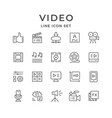 set line icons of video vector image vector image